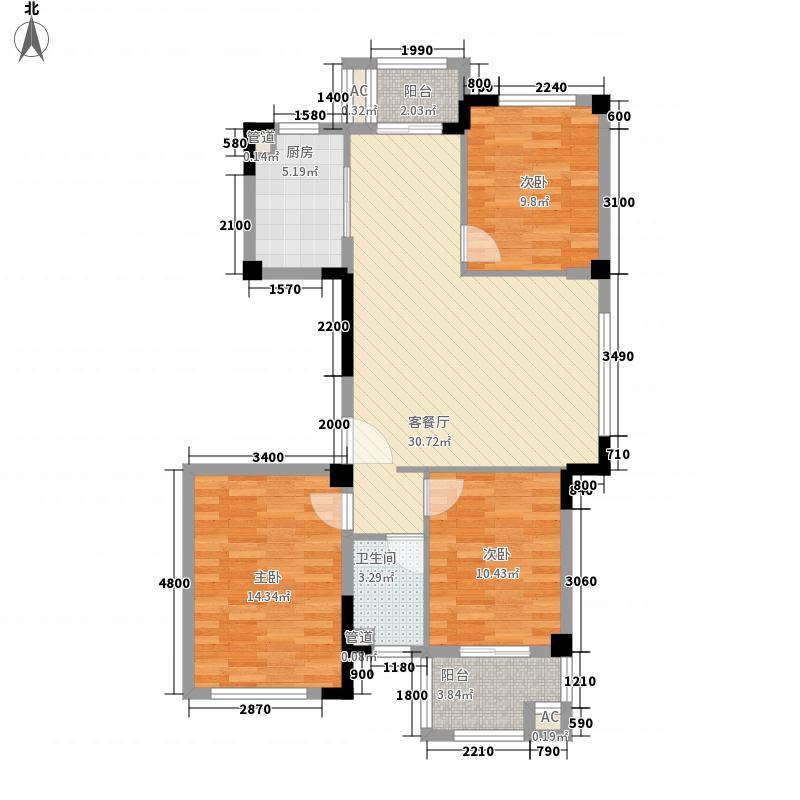 时代华府15.00㎡三居户型3室2厅1卫1厨