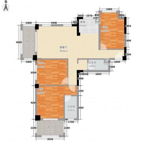 时代华府3室1厅2卫0厨127.00㎡户型图