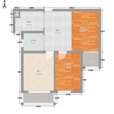 高格蓝湾2室1厅1卫1厨76.00㎡户型图