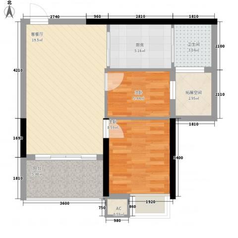 九仰梧桐公寓2室1厅1卫1厨73.00㎡户型图
