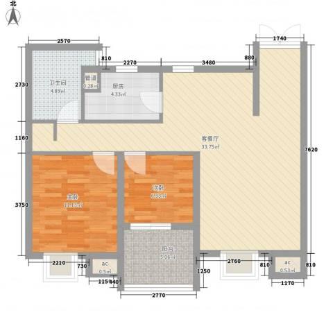 翠微品墅2室1厅1卫1厨97.00㎡户型图
