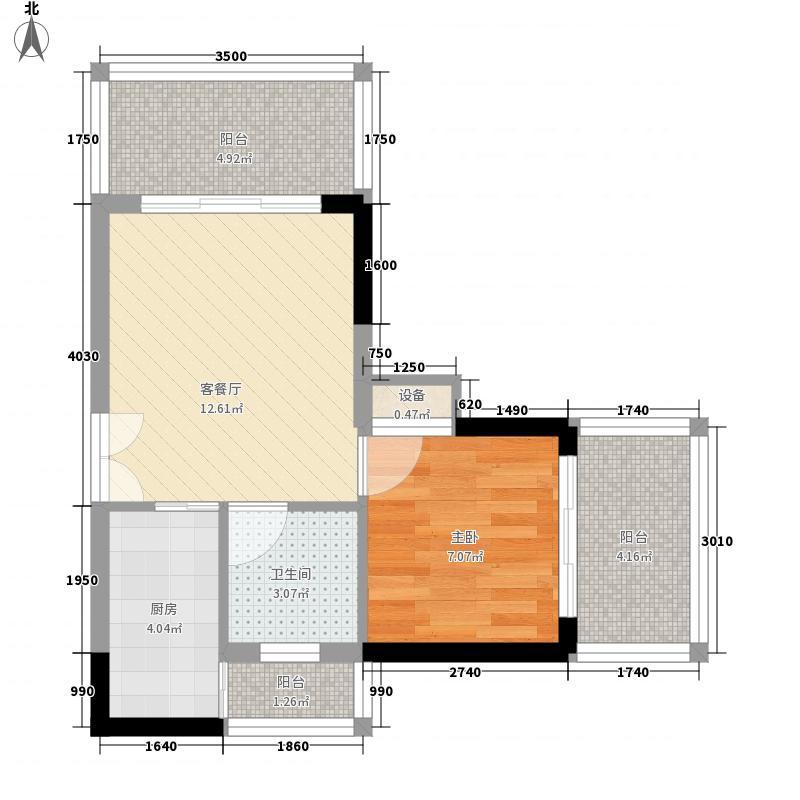 人民大厦46.76㎡1栋A10户型1室1厅1卫1厨