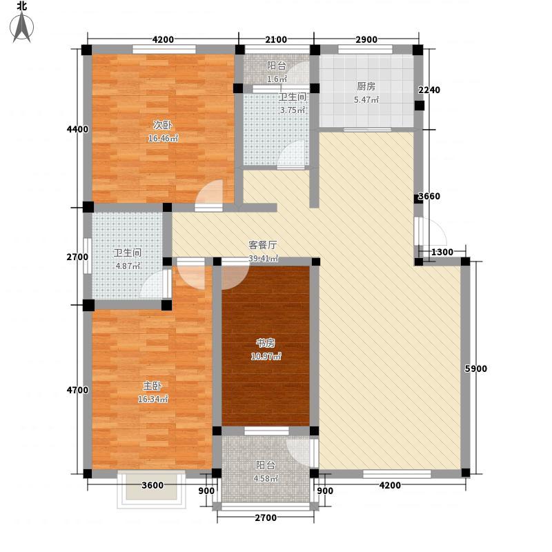 公园一号三期125.57㎡A户型3室2厅2卫1厨