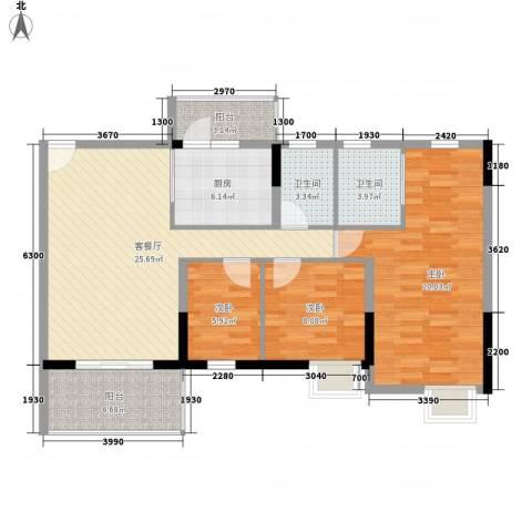 丽景花园三期3室1厅2卫1厨117.00㎡户型图