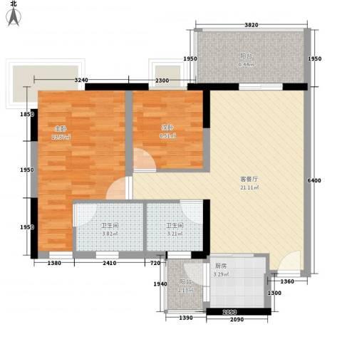 丽景花园三期2室1厅2卫1厨86.00㎡户型图