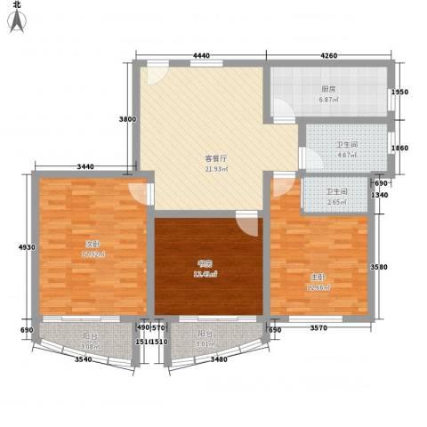 新领地3室1厅2卫1厨122.00㎡户型图