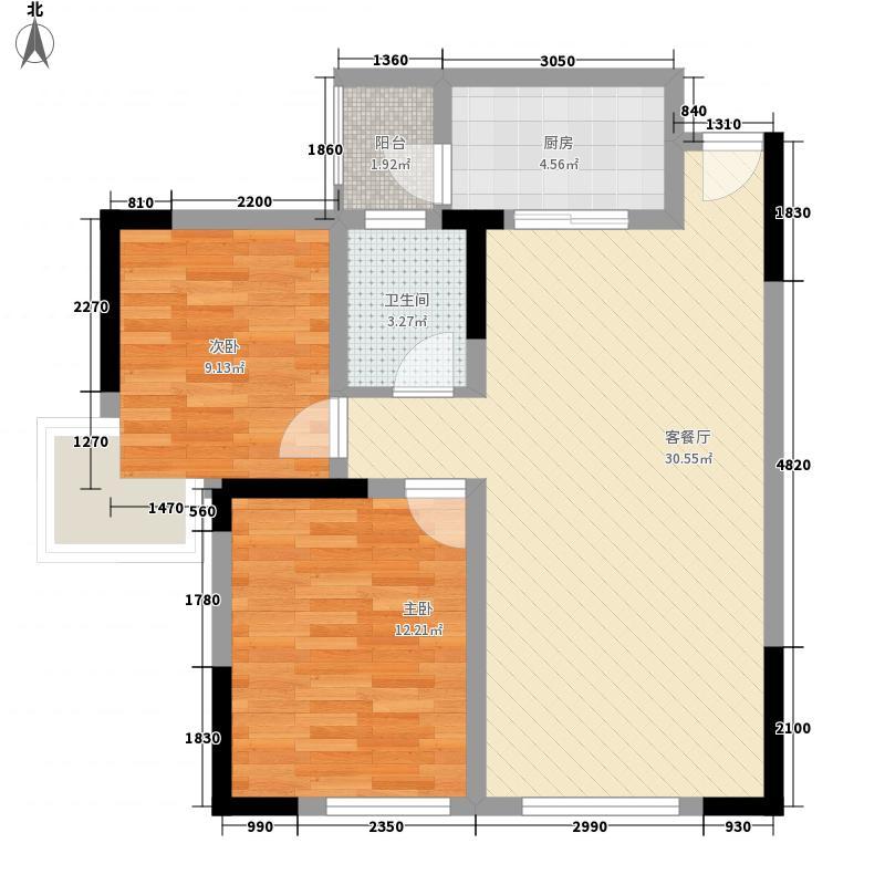 旭和倾城78.00㎡2期C型户型2室2厅1卫1厨