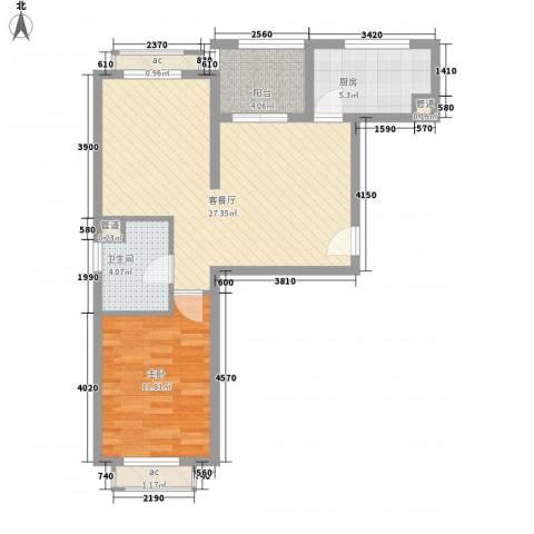 南郊新公馆1室1厅1卫1厨79.00㎡户型图