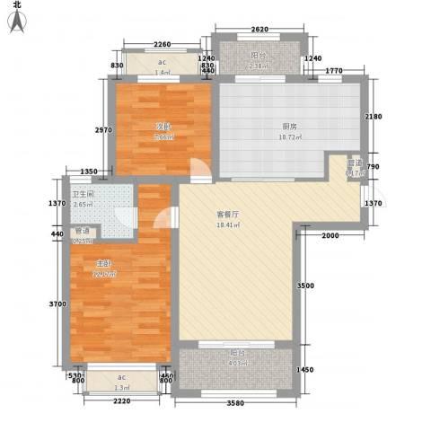 南郊新公馆2室1厅1卫1厨90.00㎡户型图