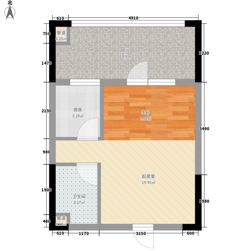 中铁山语城43.00㎡F8奇数层户型1室1厅1卫1厨