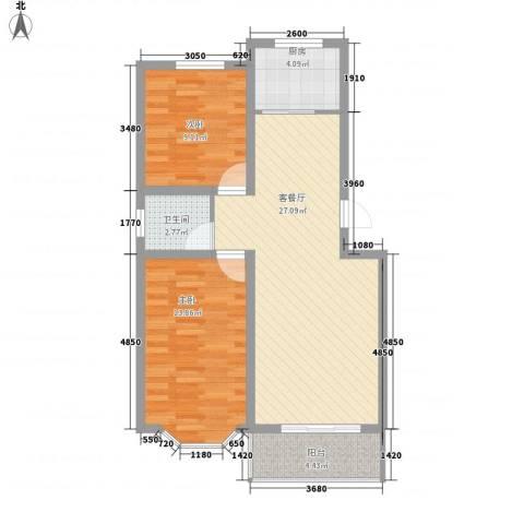 翡翠城2室1厅1卫1厨87.00㎡户型图