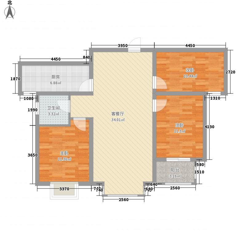 万腾・御景城114.00㎡1号楼E1户型3室2厅1卫1厨