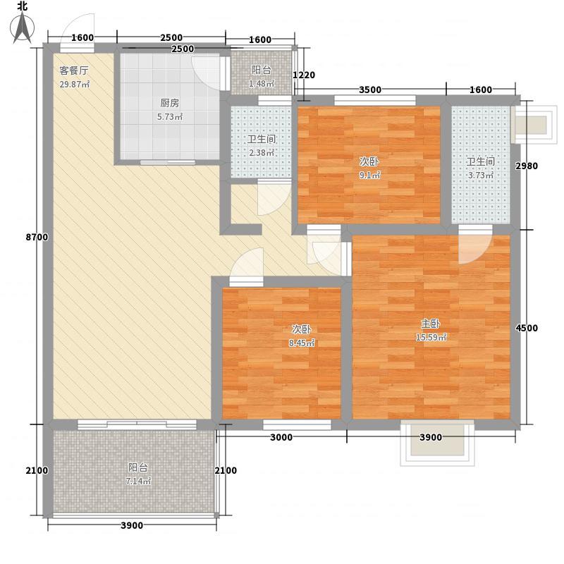 永凯春晖花园104.99㎡5#楼M户型3室2厅2卫1厨