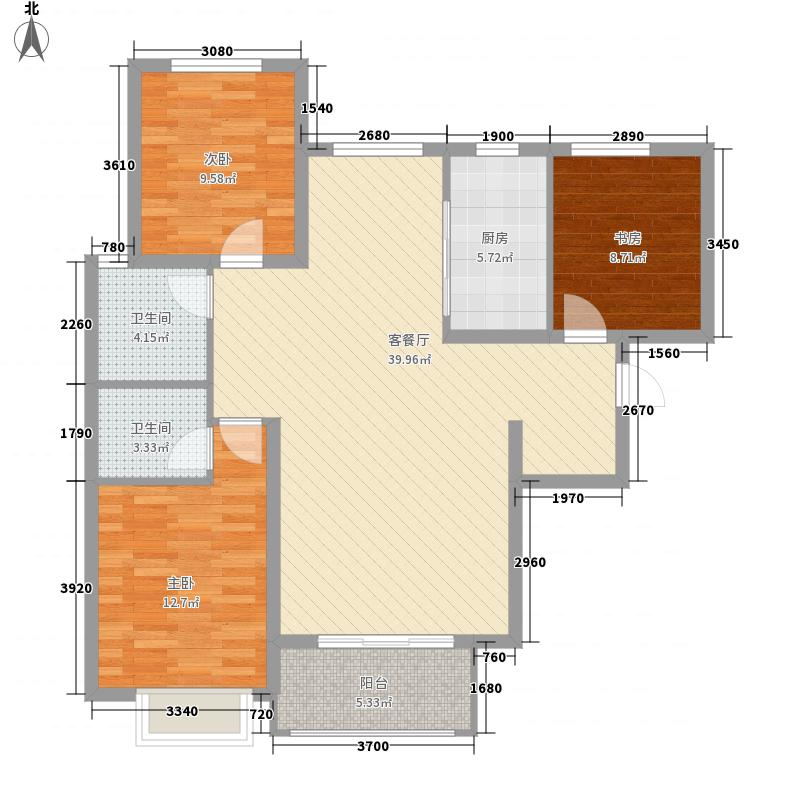 万腾・御景城126.00㎡1号楼D1户型3室2厅2卫1厨