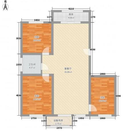 亿达国际新城3室1厅1卫1厨126.00㎡户型图