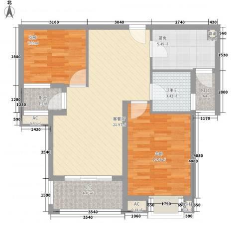 银江花园2室1厅1卫1厨89.00㎡户型图