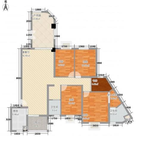 未来海岸系天心岛5室1厅2卫1厨124.33㎡户型图