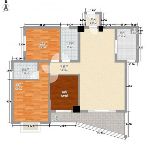 未来海岸系天心岛3室1厅2卫1厨123.00㎡户型图