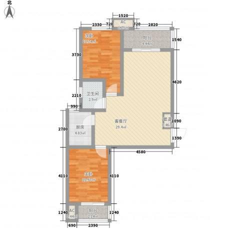 翰林观天下2室1厅1卫1厨66.27㎡户型图