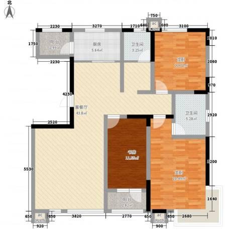 绿地新里中央公馆3室1厅2卫1厨136.00㎡户型图