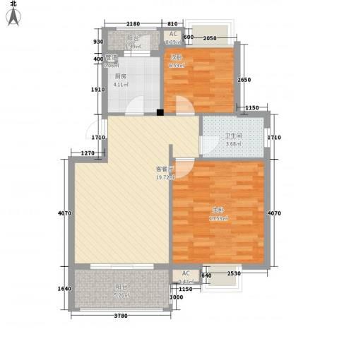 银江花园2室1厅1卫1厨78.00㎡户型图
