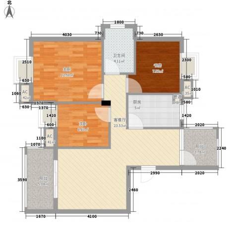 银江花园3室1厅1卫1厨101.00㎡户型图