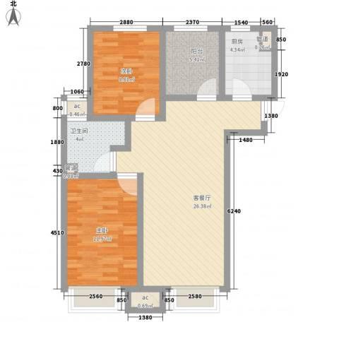绿地新里中央公馆2室1厅1卫1厨89.00㎡户型图
