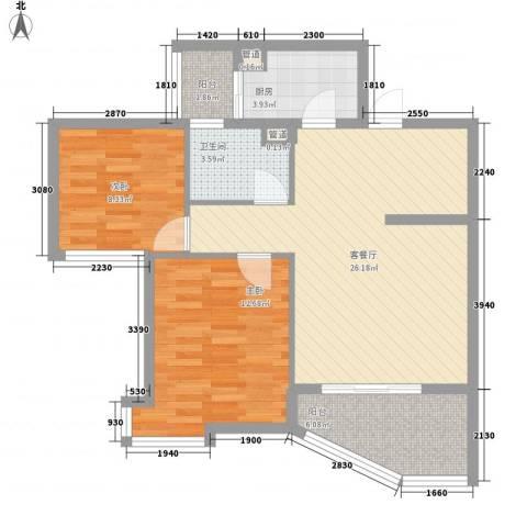 聚仙阁2室1厅1卫1厨66.00㎡户型图