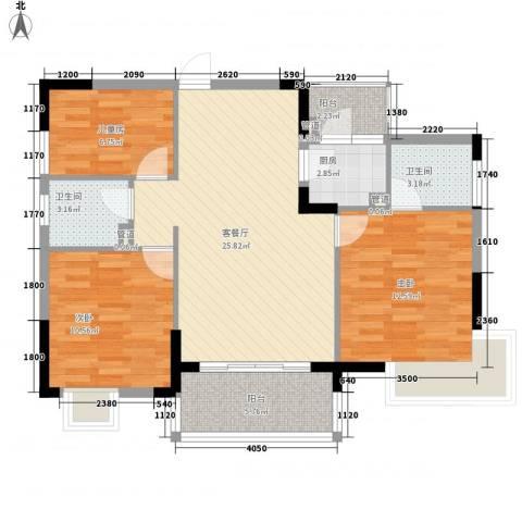 联华花园城三期3室1厅2卫1厨96.00㎡户型图