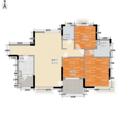 联华花园城三期3室1厅2卫1厨134.00㎡户型图