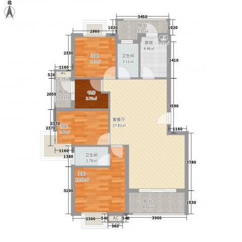银江花园4室1厅2卫1厨112.00㎡户型图