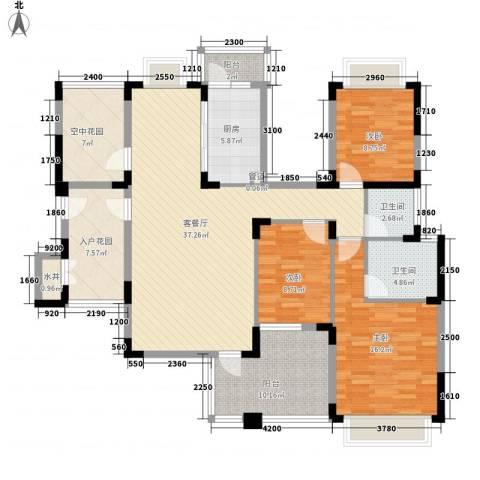 博鳌椰风海岸3室1厅2卫1厨124.00㎡户型图