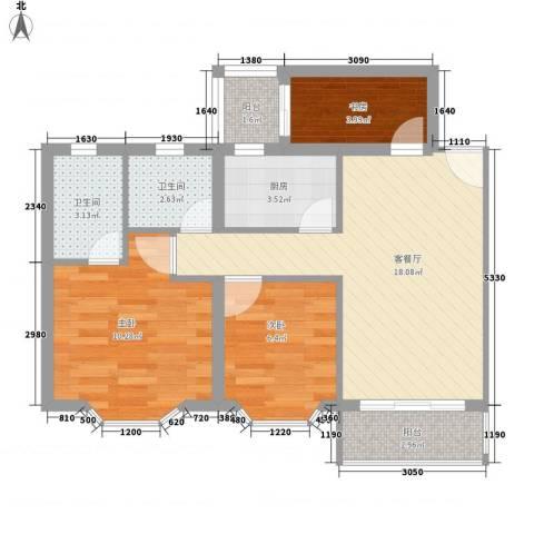 玫瑰花园3室1厅2卫1厨76.00㎡户型图