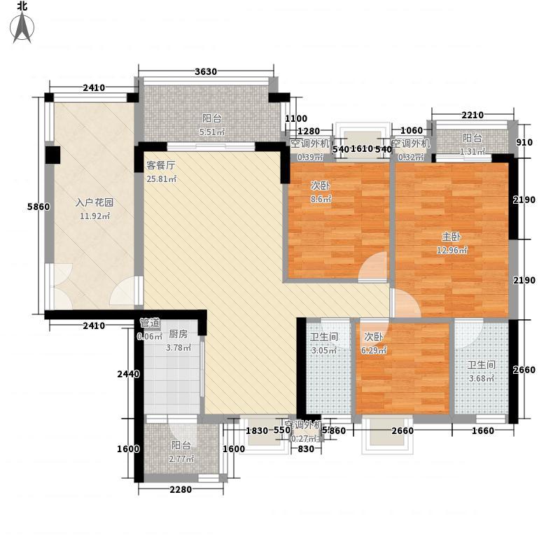 广州富力城121.44㎡广州富力城户型图A6栋4-16层13室2厅2卫1厨户型3室2厅2卫1厨