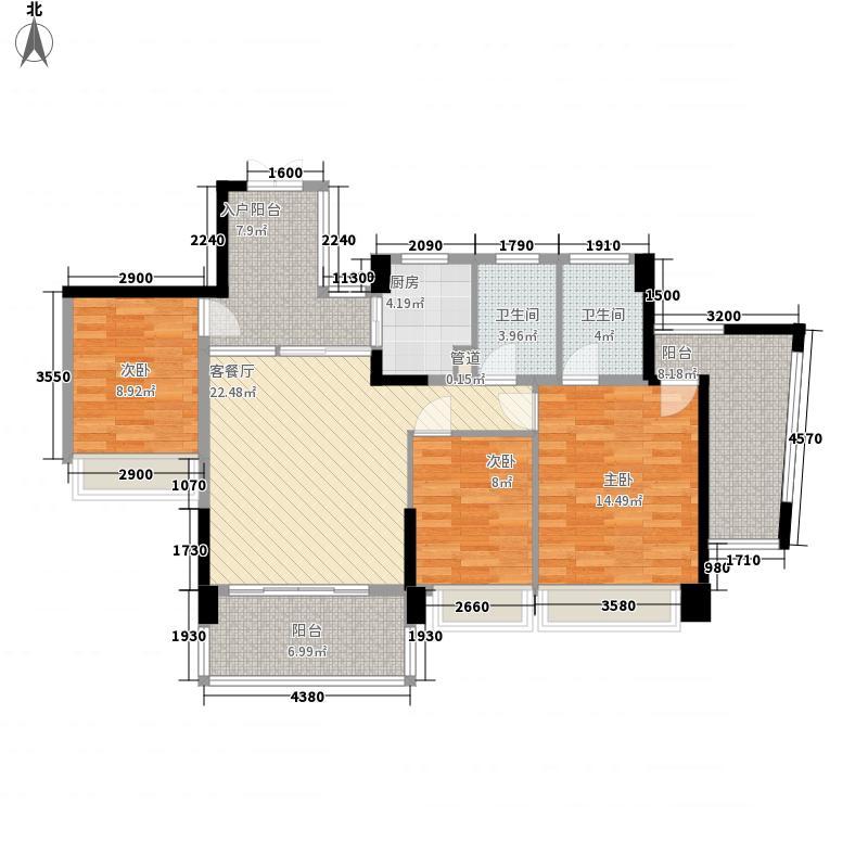 茗萃园户型图F4 3室2厅2卫1厨