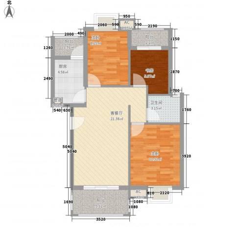 银江花园3室1厅1卫1厨93.00㎡户型图