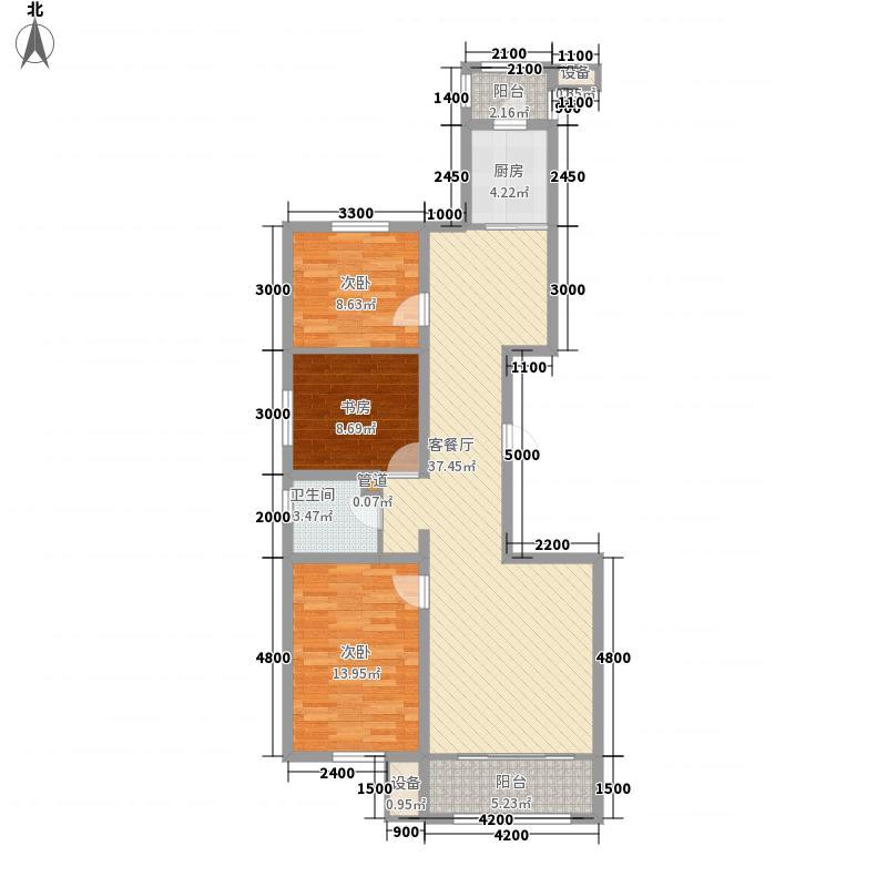 龙马阳光城116.63㎡K户型3室2厅1卫1厨