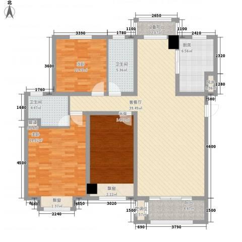 鲁能7号院・溪园3室1厅2卫1厨135.00㎡户型图