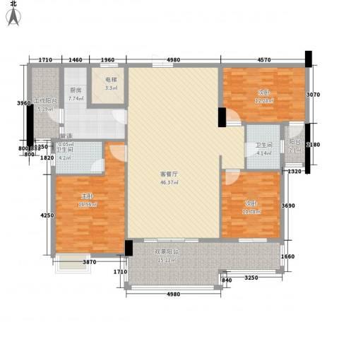 水口雅乐苑3室1厅2卫1厨128.41㎡户型图