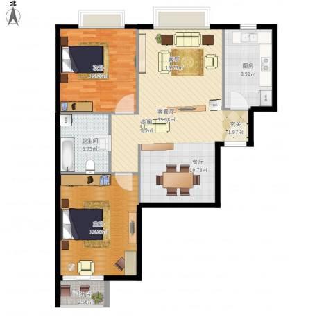 新裕家园2室1厅1卫1厨125.00㎡户型图