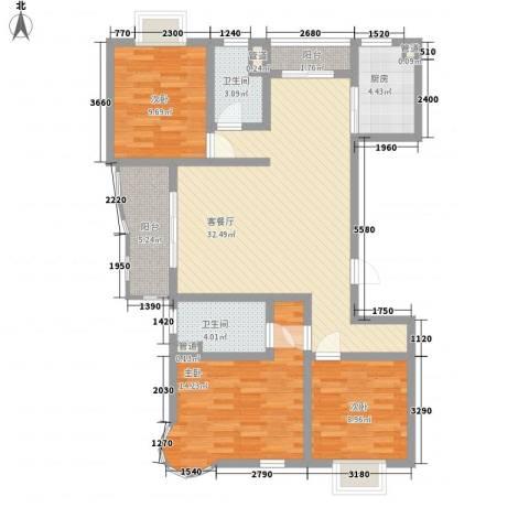大华阳城六期阳城世家3室1厅2卫1厨124.00㎡户型图