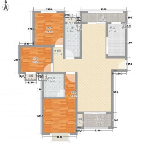 金狮薇尼诗花园3室1厅2卫1厨146.00㎡户型图