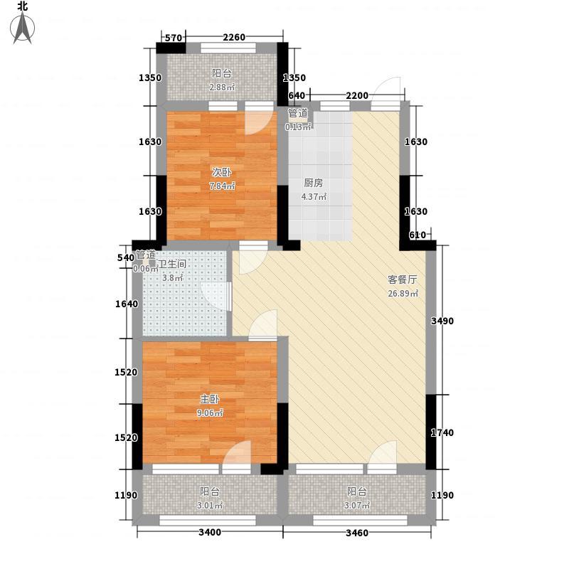 天翔茗苑83.10㎡B4户型2室2厅1卫1厨