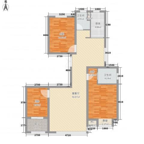 居然青年城3室1厅2卫1厨128.00㎡户型图