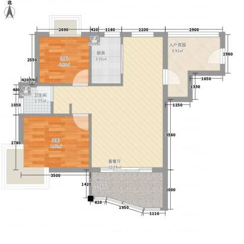 顺泽玲珑湾2室1厅1卫1厨77.00㎡户型图