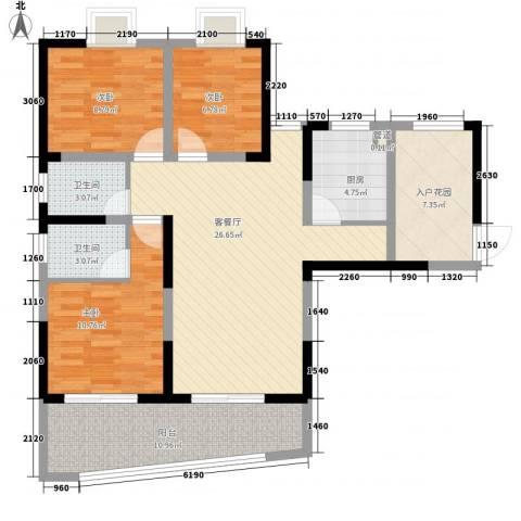 金星家园3室1厅2卫1厨120.00㎡户型图