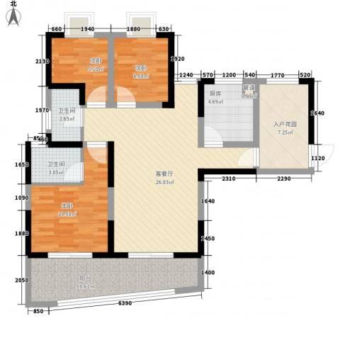 金星家园3室1厅2卫1厨114.00㎡户型图
