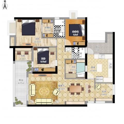 光明新区光明楼村花园3室1厅2卫1厨156.00㎡户型图