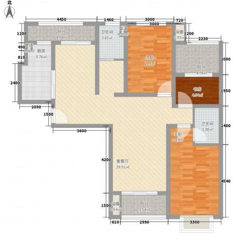 金狮薇尼诗花园3室1厅2卫1厨141.00㎡户型图