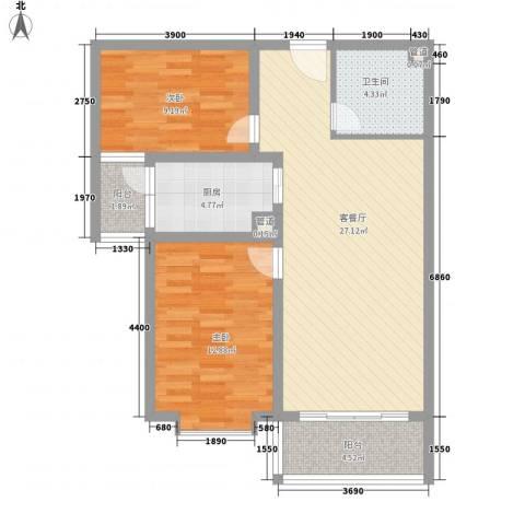 阳光水岸2室1厅1卫1厨94.00㎡户型图